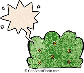 cartoon hedge and speech bubble in retro texture style - ...