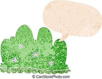 cartoon hedge and speech bubble in retro textured style - ...