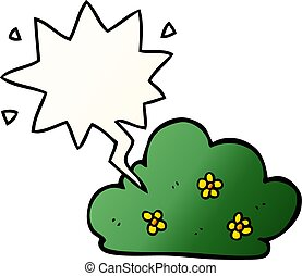 cartoon hedge and speech bubble in smooth gradient style - ...