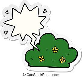 cartoon hedge and speech bubble sticker - cartoon hedge with...