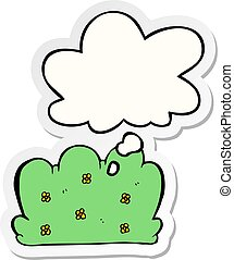 cartoon hedge and thought bubble as a printed sticker - ...