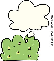 cartoon hedge and thought bubble - cartoon hedge with ...