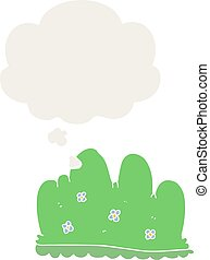 cartoon hedge and thought bubble in retro style - cartoon ...