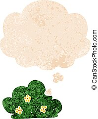 cartoon hedge and thought bubble in retro textured style - ...