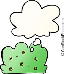 cartoon hedge and thought bubble in smooth gradient style - ...