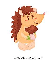 Cartoon hedgehog eats mushroom. Vector illustration on white background.