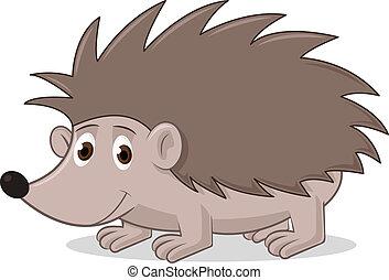 Cartoon Hedgehog - Vector illustration of hedgehog on white...