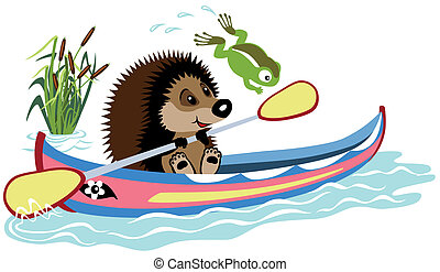 cartoon hedgehog padding in a kayak, isolated image for...