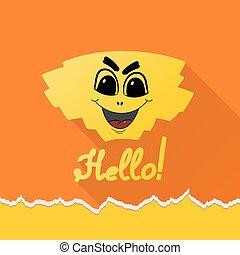 Cartoon HELLO on an orange background. Vector illustration