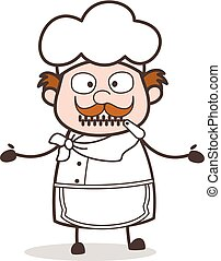Cartoon Helpless Chef Zipper-Mouth Face