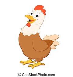 Cartoon Hen - Cartoon hen. Isolated object for design...