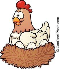 Cartoon hen - cartoon hen incubating eggs. Vector clip art...