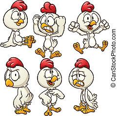 Cartoon hen - Cute cartoon hen in different poses. Vector ...