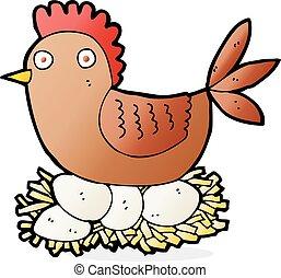 cartoon hen on eggs