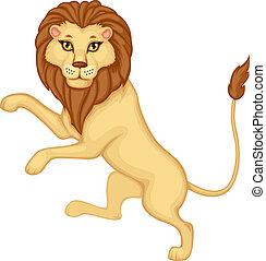 Cartoon heraldic lion is on his hind legs