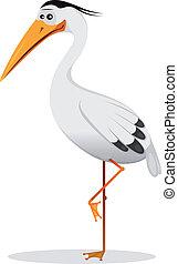 Cartoon Heron Bird - Illustration of a cartoon funny elegant...