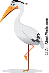 Illustration of a cartoon funny elegant blue heron bird character, wader and migratory animal standing on one claw