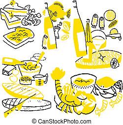 cartoon., het koken, illustratie, hand, vector, getrokken, doodles.