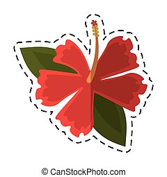cartoon hibiscus flower exotic icon