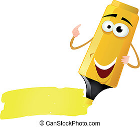 Cartoon Highlighter Character - Illustration of a funny...