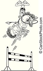 cartoon hight equestrian jump outline
