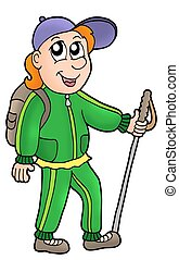Cartoon hiker on white background - color illustration.