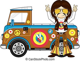 Cartoon Hippie Boy & Van - Cute Cartoon Flower Power Hippie...