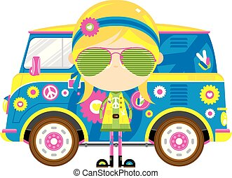 Cartoon Hippie Girl and Retro Van