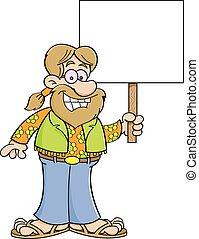 Cartoon hippie holding a sign.