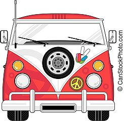 Cartoon Hippie Van - Cute Cartoon Flower Power Hippie Van...