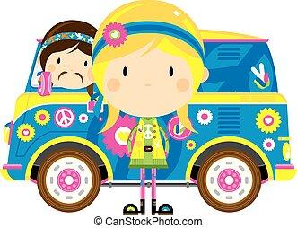 Cartoon Hippies and Retro Van