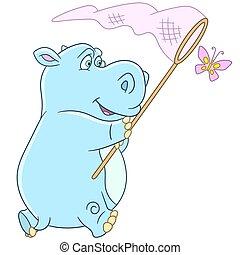 cartoon hippo and butterfly - Cute and happy cartoon hippo...