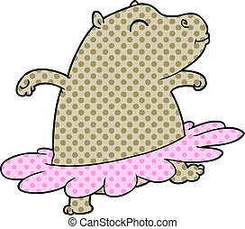 cartoon hippo ballerina
