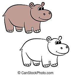 Cartoon hippo. Coloring book