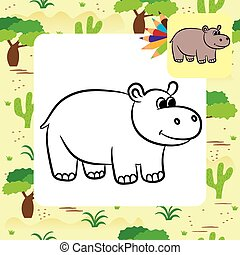 Cartoon hippo. Coloring page