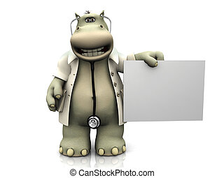 Cartoon hippo doctor with sign.