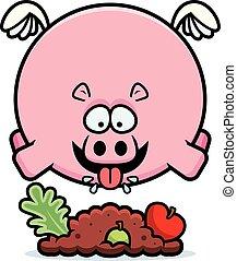 Cartoon Hippo Eating - A cartoon illustration of a hippo...