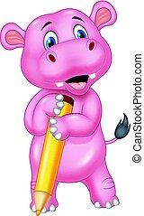 Cartoon hippo holding a pencil
