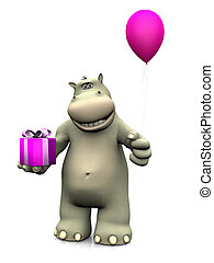 Cartoon hippo holding birthday gift and balloon. - A smiling...