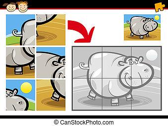 cartoon hippo jigsaw puzzle game