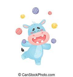 Cartoon hippo juggler. Vector illustration on a white background.