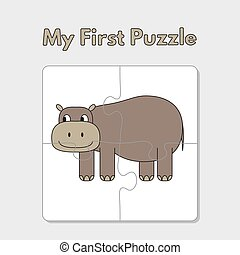 Cartoon Hippo Puzzle Template for Children - Cartoon hippo...