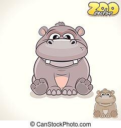 Cartoon Hippo. Vector Character