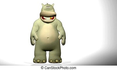 Cartoon hippo waving. - A 7 seconds long clip with a funny...