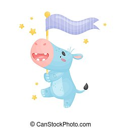 Cartoon hippo with a flag. Vector illustration on a white background.