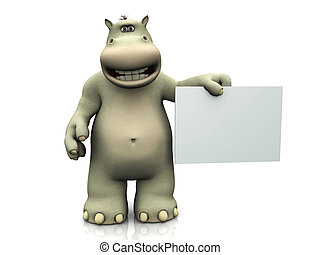 Cartoon hippo with blank sign. - A smiling cartoon hippo...