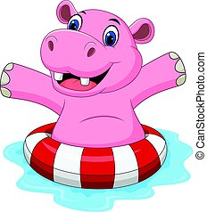 Cartoon hippo with inflatable ring - Vector illustration of...
