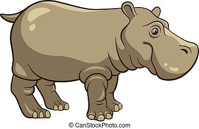 Hippopotamus - Cartoon Hippopotamus isolated on a white...