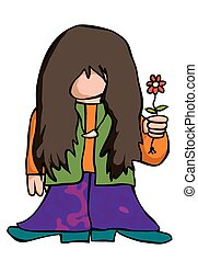 Cartoon hippy - A 1960's or 70's hippy offers a flower in...