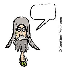 cartoon hippy with speech bubble